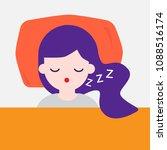 top view of a woman sleeping.... | Shutterstock .eps vector #1088516174