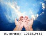 praying hands with sunlight...   Shutterstock . vector #1088519666