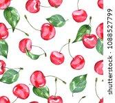 cherry. watercolor illustration....   Shutterstock . vector #1088527799