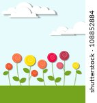 flowers and clouds - stock vector