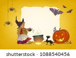 halloween background young... | Shutterstock .eps vector #1088540456