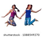 two girls jumping in the air... | Shutterstock . vector #1088549270