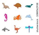 marine fauna icons set. cartoon ... | Shutterstock . vector #1088562938