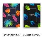 summer background set. vector... | Shutterstock .eps vector #1088568908