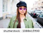 beautiful  girl looking at... | Shutterstock . vector #1088615900