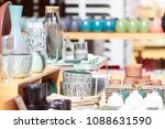 colorful jars and bottles on... | Shutterstock . vector #1088631590