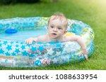 portrait of baby boy lying in... | Shutterstock . vector #1088633954