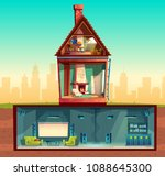 vector house interior in cross... | Shutterstock .eps vector #1088645300