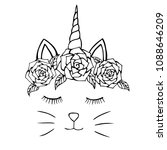 cat hand drawn and flowers ... | Shutterstock .eps vector #1088646209