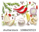 various herbs and spices... | Shutterstock . vector #1088650523