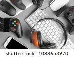 gamepads  mice  headphones and... | Shutterstock . vector #1088653970