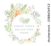 forest green leaves blush pink... | Shutterstock .eps vector #1088656913