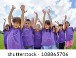 happy kids group have fun in... | Shutterstock . vector #108865706