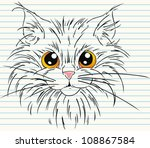 cute face cat with on paper | Shutterstock .eps vector #108867584