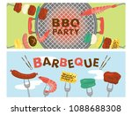 barbeque vector banner set. | Shutterstock .eps vector #1088688308