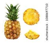 pineapple on white background.... | Shutterstock . vector #1088697710