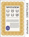 orange formal invitation... | Shutterstock .eps vector #1088701418