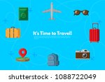 traveler's accessories.... | Shutterstock .eps vector #1088722049