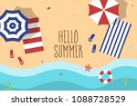 vector beach with waves ... | Shutterstock .eps vector #1088728529