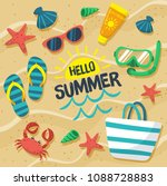 hello summer in the sand... | Shutterstock .eps vector #1088728883
