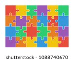 jigsaw puzzle set of 24...   Shutterstock .eps vector #1088740670