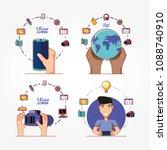social media marketing icons | Shutterstock .eps vector #1088740910