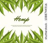 green hemp leaves. vector... | Shutterstock .eps vector #1088744516