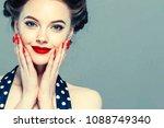 pin up woman portrait.... | Shutterstock . vector #1088749340