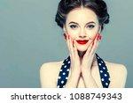 pin up woman portrait.... | Shutterstock . vector #1088749343