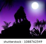 gorilla looks at the moon...   Shutterstock .eps vector #1088762549