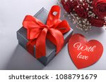 gift box  rose flowers and... | Shutterstock . vector #1088791679