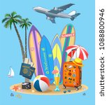 summer travel suitcase and... | Shutterstock . vector #1088800946