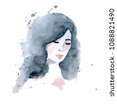 watercolor portrait of young...   Shutterstock . vector #1088821490