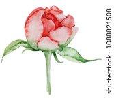 watercolor red peony flower ...   Shutterstock . vector #1088821508