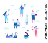 vector set of people using... | Shutterstock .eps vector #1088824109