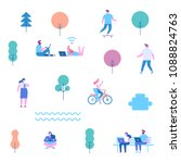 flat illustration of people... | Shutterstock .eps vector #1088824763