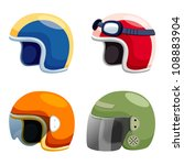 Motorcycle helmet set vector