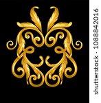 gold baroque frame scroll | Shutterstock .eps vector #1088842016