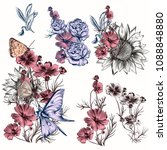 collection of vector flowers... | Shutterstock .eps vector #1088848880