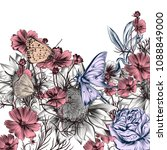 floral illustration with vector ... | Shutterstock .eps vector #1088849000
