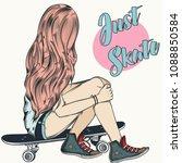 beautiful teenager girl sit on... | Shutterstock .eps vector #1088850584