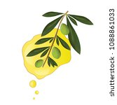 bottle with olive oil vector  ... | Shutterstock .eps vector #1088861033