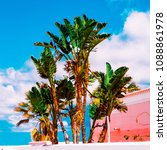 tropical mood palm trees... | Shutterstock . vector #1088861978
