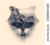 Small photo of racoon face with double exposure effect