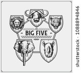 safari emblem with big five... | Shutterstock .eps vector #1088894846