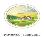 rural dawn landscape with the... | Shutterstock .eps vector #1088923013