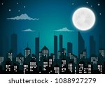silhouette of the city and... | Shutterstock .eps vector #1088927279