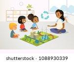 smiling female kindergarten... | Shutterstock .eps vector #1088930339
