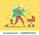 man with task icons around head ... | Shutterstock .eps vector #1088930354