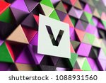 Letter V On The Purple And...